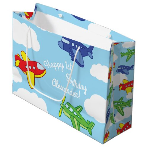 Airplanes and Jets Cute 1st Birthday Party Large Gift Bag