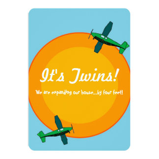 Airplanes Boy Twin Baby Shower Invitation