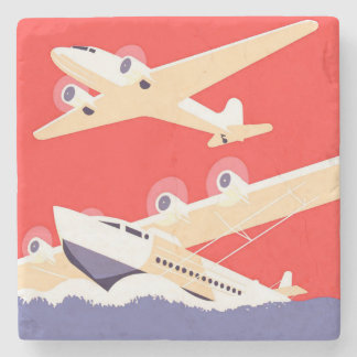 Airplanes Flying Vintage Propeller Planes Stone Coaster