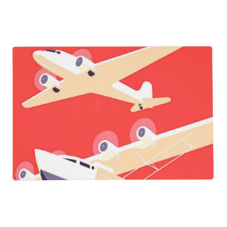 Airplanes Flying Vintage Propeller Planes Laminated Place Mat