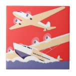 Airplanes Flying Vintage Propeller Planes Small Square Tile