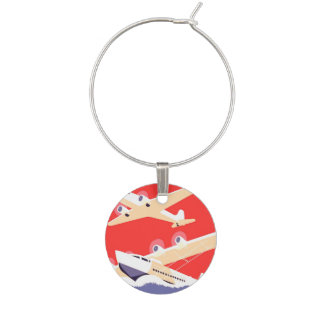 Airplanes Flying Vintage Propeller Planes Wine Charm