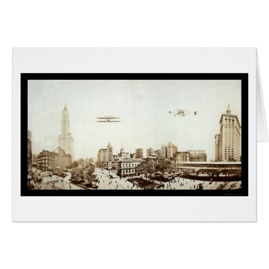 Airplanes NYC City Hall Photo 1913 Card