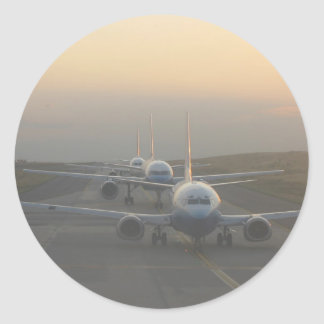 Airplanes on a Runway Classic Round Sticker