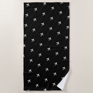 airplanes pattern black beach towel for the pilot