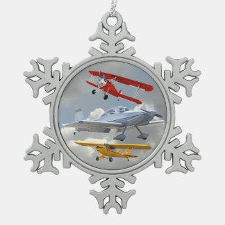 AIRPLANES SNOWFLAKE PEWTER CHRISTMAS ORNAMENT