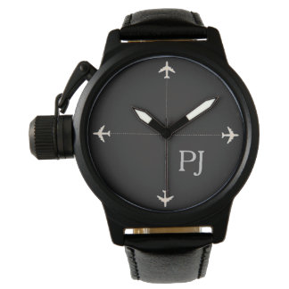 airplanes with initials, stylish black wrist watch