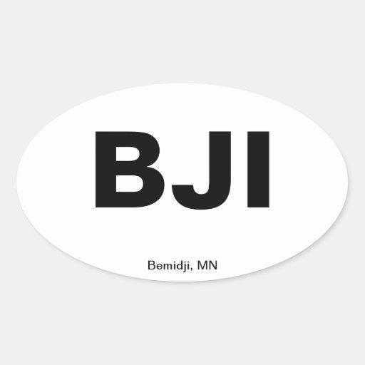 Airport Code - Bemidji, Minnesota Oval Sticker