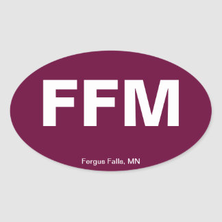 Airport Code - Fergus Falls, Minnesota Oval Sticker