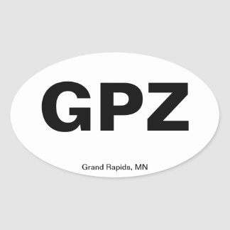 Airport Code - Grand Rapids, Minnesota Oval Sticker