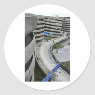 Airport Parking Structure Classic Round Sticker