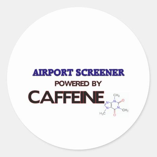 Airport Screener Powered by caffeine Classic Round Sticker