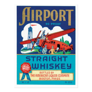Airport Straight Whiskey Boston Massachusetts Cool Postcard