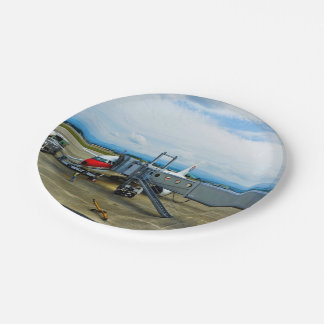 Airport Themed, A Red And White Aeroplane Waiting Paper Plate