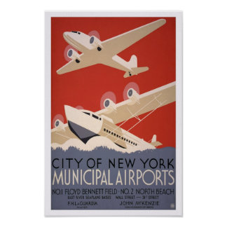Airports municipal, 1936. Transporte aéreo del Póster