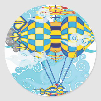 Airship-10.png Classic Round Sticker