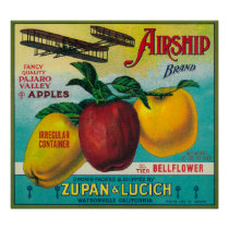 Airship Apple Crate LabelWatsonville, CA Poster