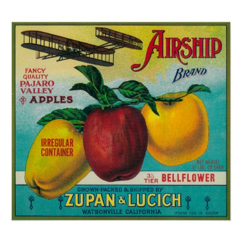 Airship Apple Crate LabelWatsonville, CA
