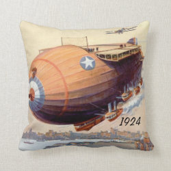 Airship of 1924 throw pillow