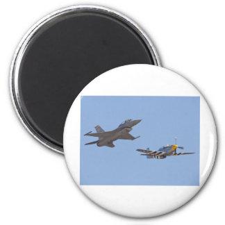 airshow f-16 & p-51 2 inch round magnet