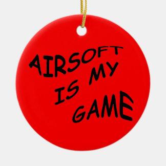 Airsoft es mi ornamento del juego adorno navideño redondo de cerámica