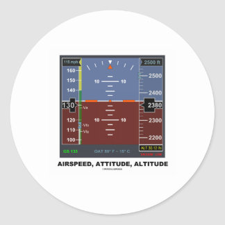 Airspeed Attitude Altitude Electronic Flight EFIS Classic Round Sticker