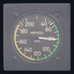 "Airspeed Gauge Stone Coaster<br><div class=""desc"">Vintage airspeed gauge on an airplane in flight</div>"