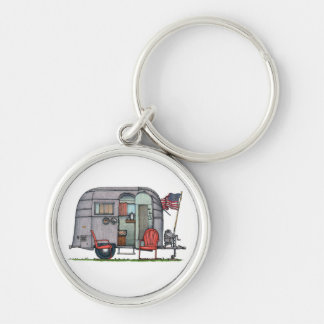 Airstream Silver-Colored Round Keychain