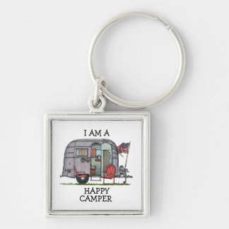 Airstream Silver-Colored Square Keychain