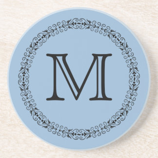 Airy Blue Light Baby Blue Solid Color Monogram Coaster