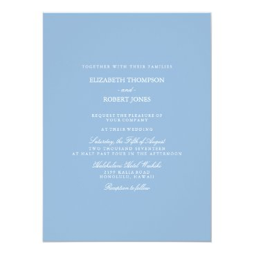Beach Themed Airy Blue with White Wedding Detail Card
