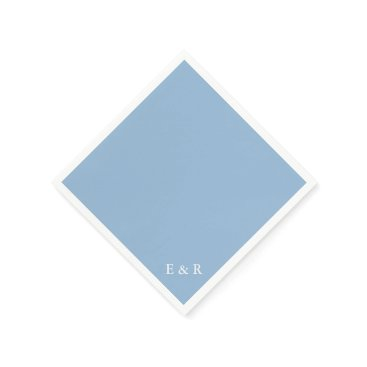 Beach Themed Airy Blue with White Wedding Detail Paper Napkin