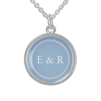 Airy Blue with White Wedding Detail Sterling Silver Necklace