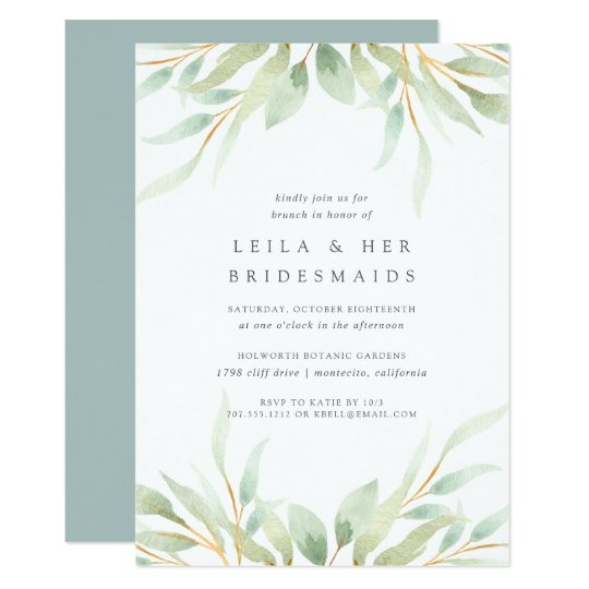 airy botanical bridesmaids brunch invitation zazzle com