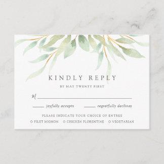 Airy Botanical Meal Choice RSVP Card