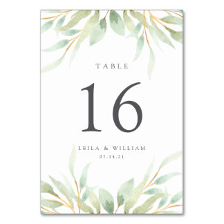 Airy Botanical Personalized Table Number Card