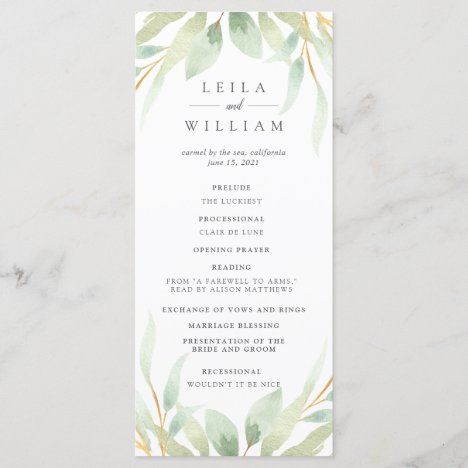 Airy Botanical Wedding Ceremony Program
