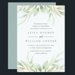 "Airy Botanical Wedding Invitation<br><div class=""desc"">Elegant watercolor botanical wedding invitation frames your wedding details with a border of sheer pastel watercolor foliage in pale,  cool greens. Personalize with your ceremony information in chic grey lettering.</div>"