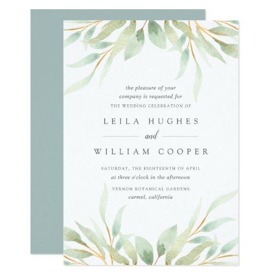 Zazzle Wedding Invitations.Airy Botanical Wedding Invitation