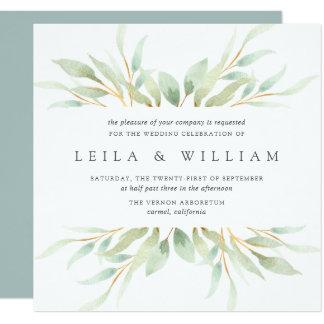 Airy Botanical Wedding Invitation | Square