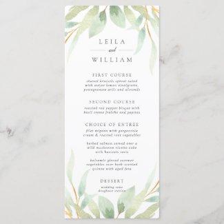 Airy Botanical Wedding Menu Card