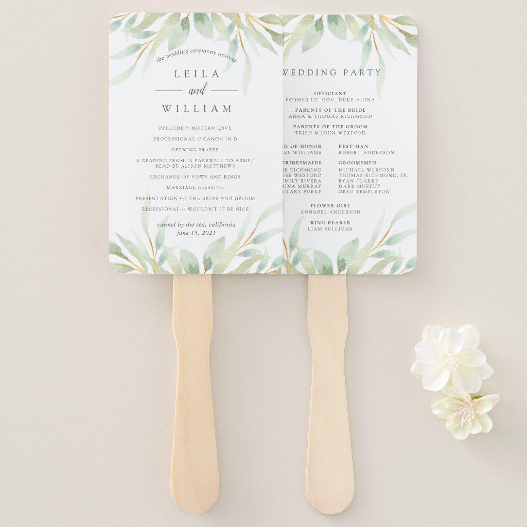 Airy Botanical Wedding Program Hand Fan