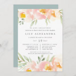 """Airy Floral Bat Mitzvah Invitation<br><div class=""""desc"""">Elegant watercolor floral invitation for your daughter's bat mitzvah frames your religious ceremony and party details with a border of sheer pastel watercolor flowers in light peach and blush pink,  with mint green foliage.</div>"""