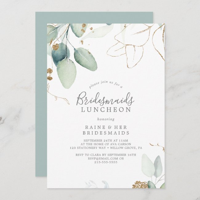 Airy Greenery and Gold Leaf Bridesmaids Luncheon Invitation