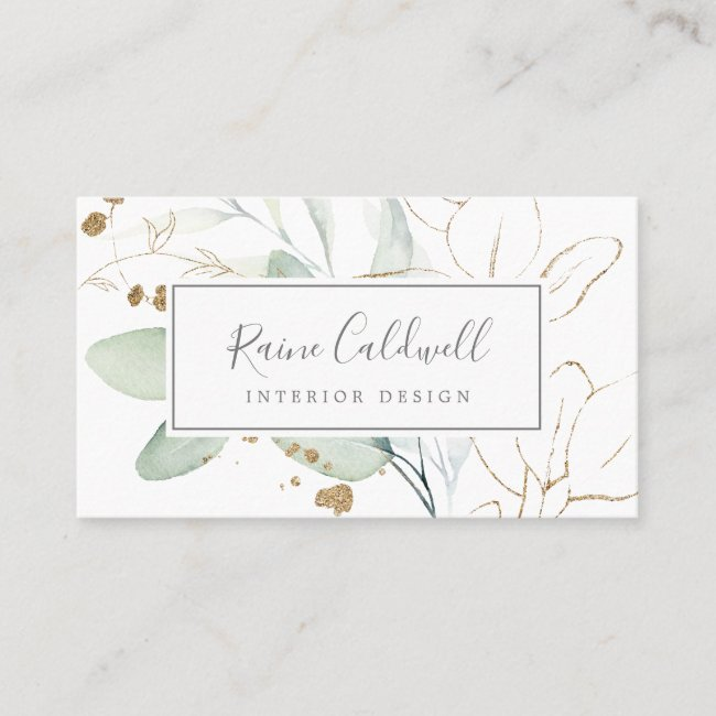 Airy Greenery and Gold Leaf Business Card