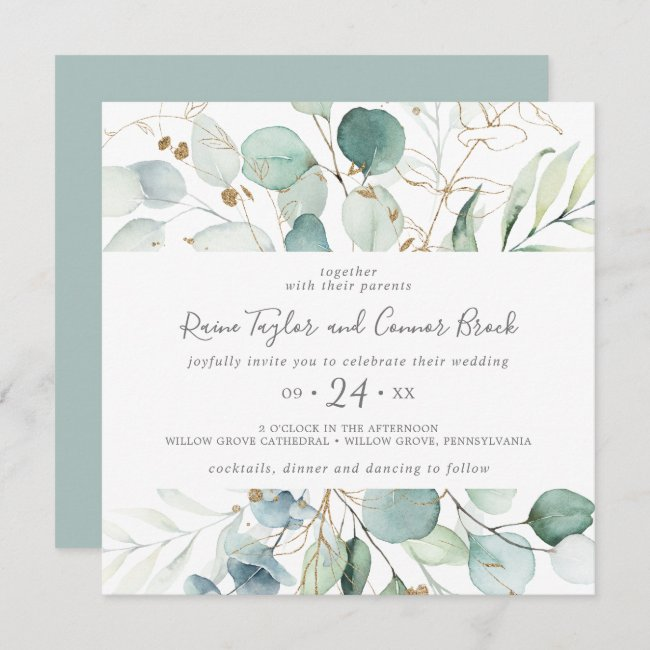 Airy Greenery and Gold Leaf Square Wedding Invitation