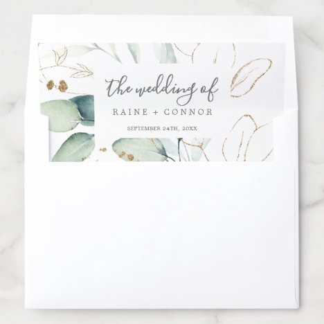 Airy Greenery and Gold Leaf Wedding Envelope Liner
