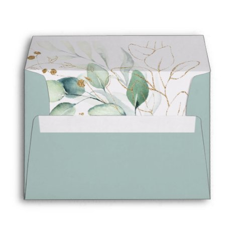Airy Greenery and Gold Leaf Wedding Invitation Envelope