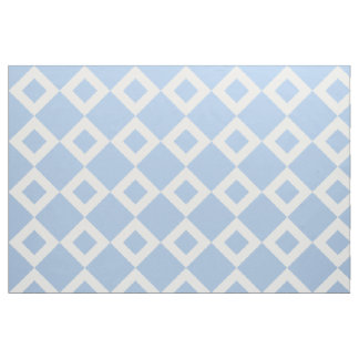 Airy Light Blue and White Diamond Pattern Fabric