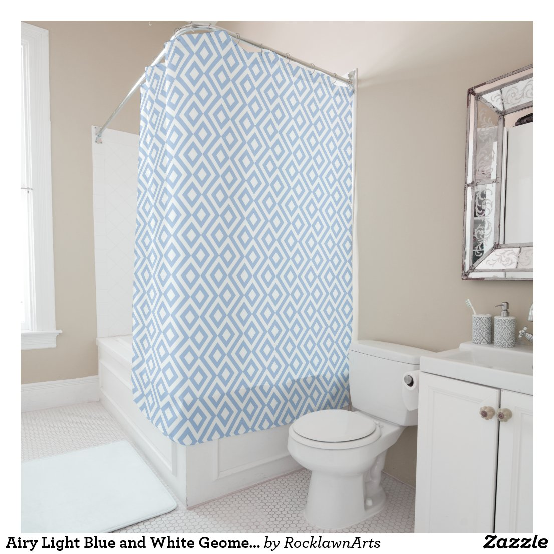 Airy Light Blue and White Geometric Meander Shower Curtain